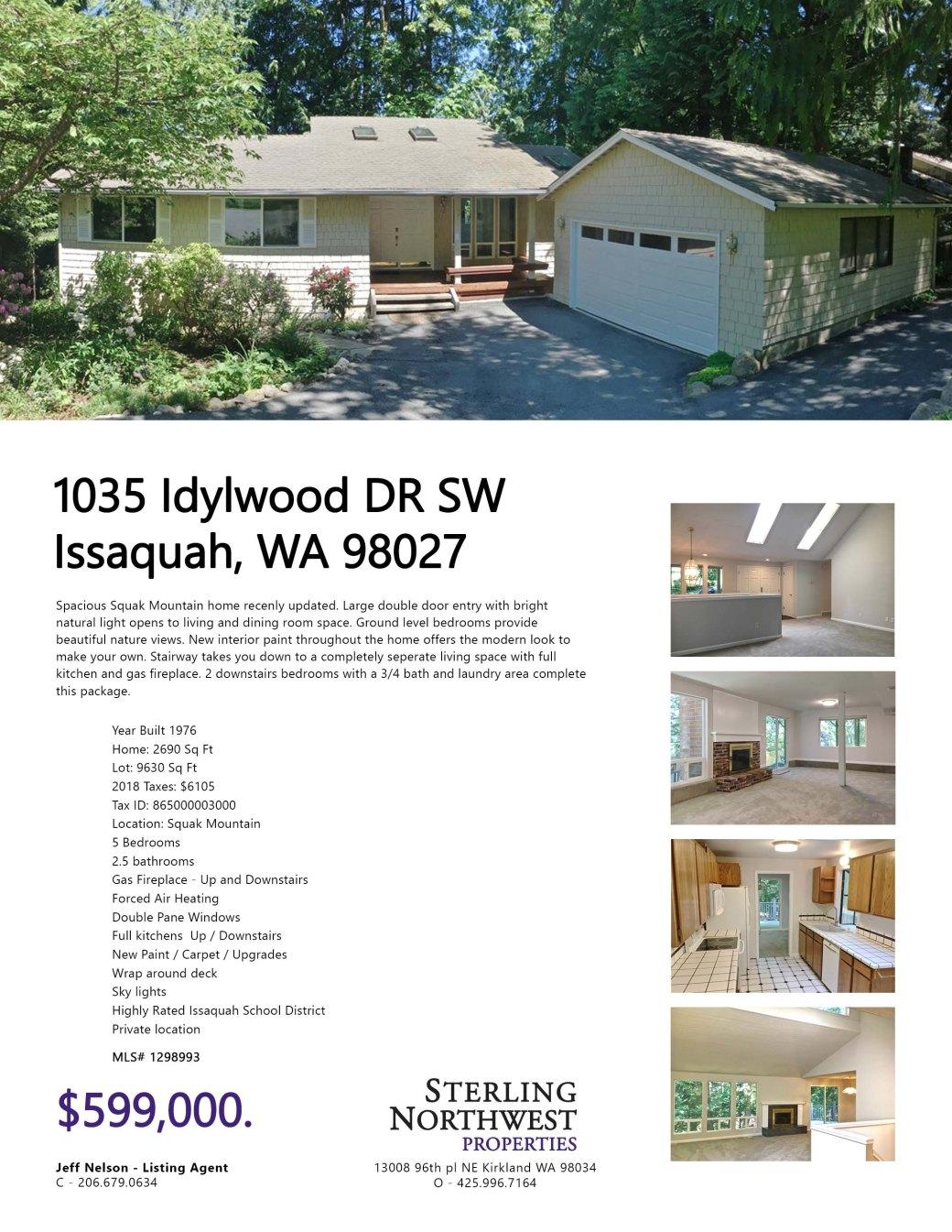 1035 Idylwood Drive 599k